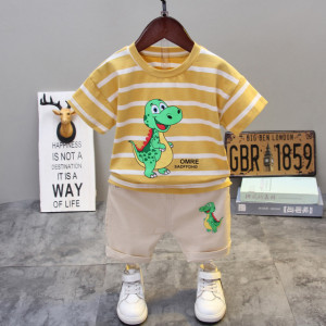 Costum pentru bebelusi cu tricou galben mustar - Happy Dino