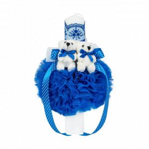 Lumanare botez 2 ursuleti, decor albastru, Denikos® 523