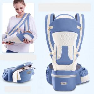 Marsupiu ergonomic cu scaunel, albastru cu ivoire