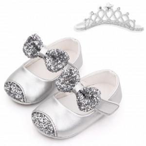 Pantofiori argintii cu sclipici si cu bentita asortata