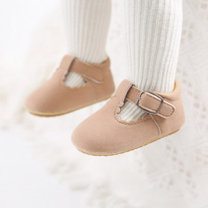 Pantofiori crem pentru fetite cu bareta cu arici