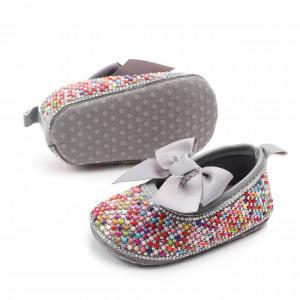 Pantofiori de ocazie cu pietricele colorate si fundita gri