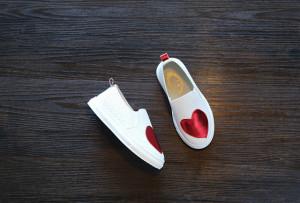 Pantofiori pentru fetite - Inima rosie