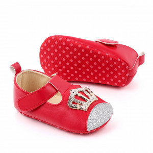 Pantofiori rosii cu sclipici si coronita