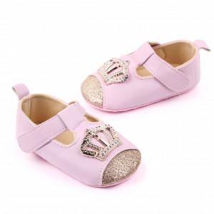 Pantofiori roz cu sclipici si coronita