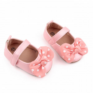 Pantofiori roz sidefat cu fundita