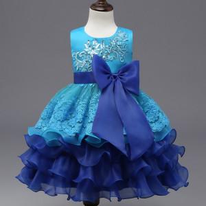 Rochie ocazie - Volanase albastre