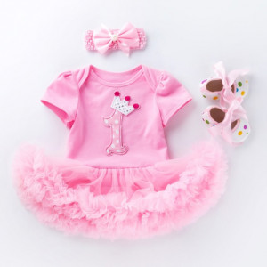 Rochita body roz cu fustita tutu - First