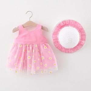 Rochita roz pentru fetite cu palarie
