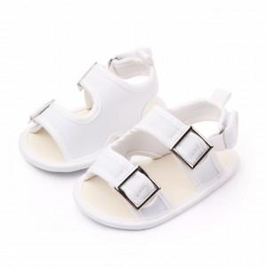 Sandalute albe cu barete si catarame