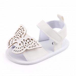 Sandalute albe pentru fetite - Fluturasul dantelat