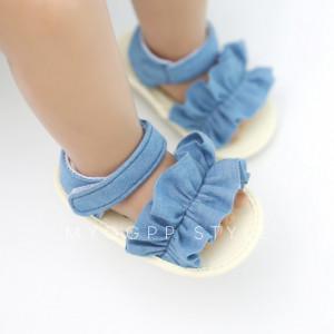Sandalute din blugi cu volanas