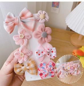 Set de 8 accesorii pentru par - Fundite roz pudra