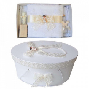Set trusou botez si cutie trusou, Ingeras, dantela ivoire, Denikos® 449