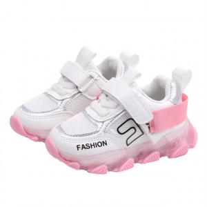 Adidasi albi cu roz