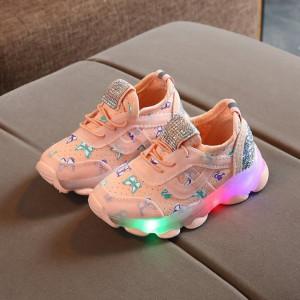 Adidasi roz somon cu fluturasi si cu luminite pentru copii