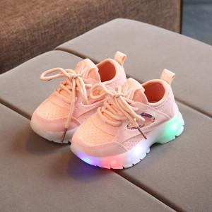 Adidasi roz somon cu luminite