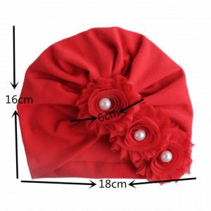 Caciulita tip turban cu floricele cu perlute
