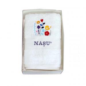 Cadou pentru nas prosop brodat cu floricele NKB013