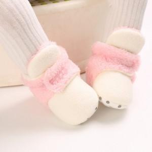 Cizmulite plusate ivoire cu roz pentru fetite