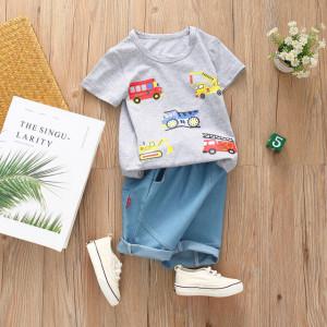 Costum bebelusi cu tricou gri - Masinute