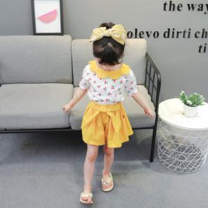 Costumas alb cu galben pentru fetite - Cirese