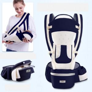 Marsupiu ergonomic cu scaunel, bleumarine cu ivoire