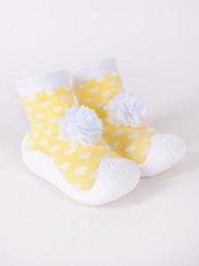 Mocasini galbeni pentru copii cu talpa antiderapanta - Floricica