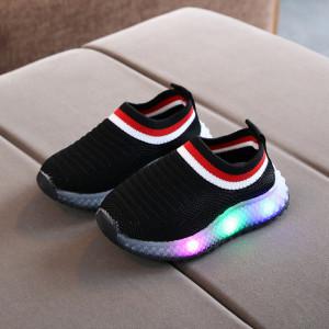 Mocasini tip adidas negri cu luminite