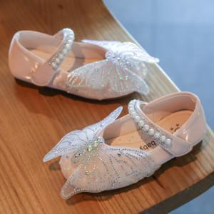 Pantofi roz pudra cu fluturas cu strasuri