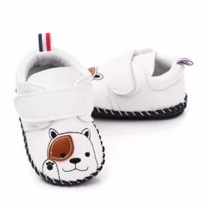 Pantofiori albi pentru baietei - Catelus