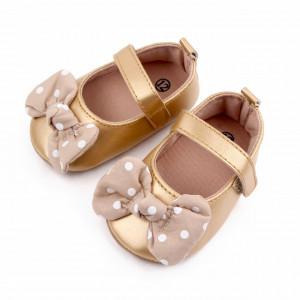 Pantofiori aurii cu fundita cu buline