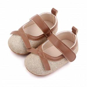 Pantofiori aurii cu fundita maro