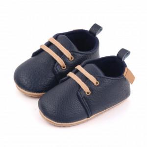 Pantofiori eleganti bleumarine cu sireturi