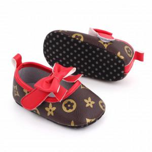 Pantofiori maro cu fundita rosie pentru fetite