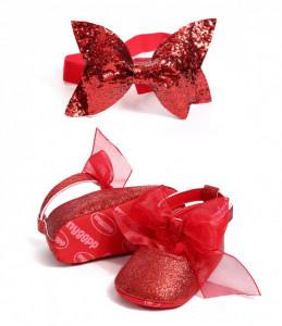 Pantofiori rosii cu sclipici si cu bentita asortata
