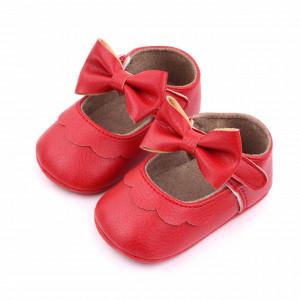 Pantofiori rosii cu volanas si fundita