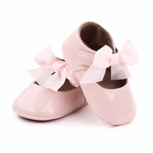 Pantofiori roz cu fundita aplicata pentru fetite