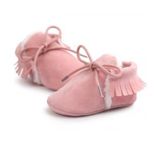 Pantofiori roz imblaniti cu franjuri