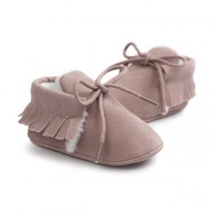 Pantofiori roz pudra imblaniti cu franjuri