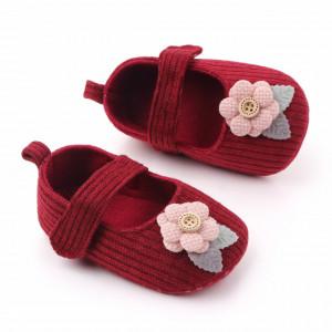 Pantofiori visinii cu floricica roz aplicata