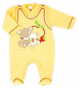 Salopeta bebe cu bluzita - ursuleti cu capsunele - Haine Bebelusi