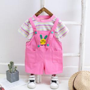 Salopeta roz cu tricou - Bunny