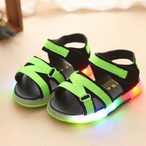 Sandale negre cu barete verde neon