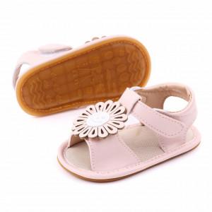 Sandalute roz pudra pentru fetite cu floricica aplicata
