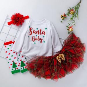 Set body cu fustita tutu si jampieri- Santa Baby