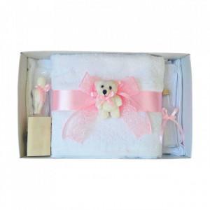 Trusou botez dantela roz si ursulet Denikos® 444
