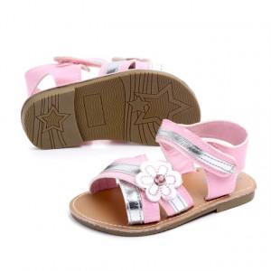 Sandale fetite roz cu argintiu