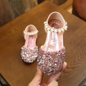 Pantofi eleganti cu strasuri roz si perlute