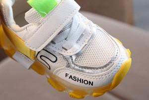 Adidasi albi cu galben